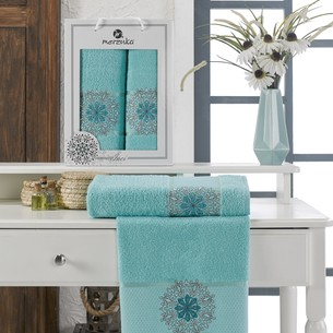 Подарочный набор полотенец для ванной 50х90, 70х140 Merzuka INCI хлопковая махра бирюзовый