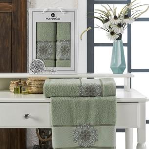 Подарочный набор полотенец для ванной 50х90, 70х140 Merzuka INCI хлопковая махра зеленый