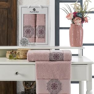 Подарочный набор полотенец для ванной 50х90, 70х140 Merzuka INCI хлопковая махра светло-розовый