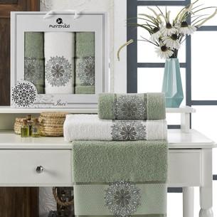 Подарочный набор полотенец для ванной 50х90(2), 70х140(1) Merzuka INCI хлопковая махра зеленый