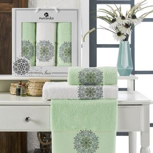 Подарочный набор полотенец для ванной 50х90(2), 70х140(1) Merzuka INCI хлопковая махра фисташковый
