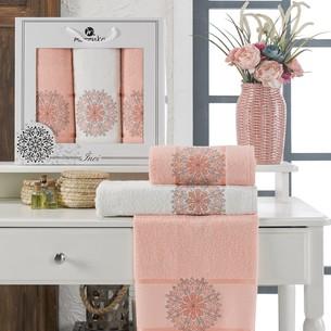 Подарочный набор полотенец для ванной 50х90(2), 70х140(1) Merzuka INCI хлопковая махра оранжевый