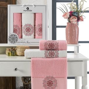 Подарочный набор полотенец для ванной 50х90(2), 70х140(1) Merzuka INCI хлопковая махра розовый