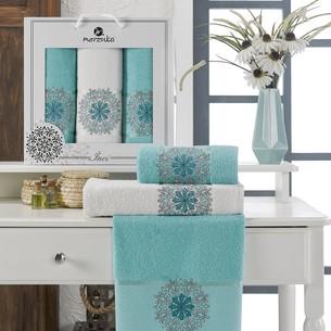 Подарочный набор полотенец для ванной 50х90(2), 70х140(1) Merzuka INCI хлопковая махра бирюзовый