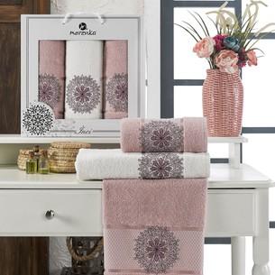Подарочный набор полотенец для ванной 50х90(2), 70х140(1) Merzuka INCI хлопковая махра светло-розовый