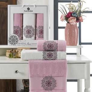 Подарочный набор полотенец для ванной 50х90(2), 70х140(1) Merzuka INCI хлопковая махра сиреневый