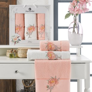 Подарочный набор полотенец для ванной 50х90(2), 70х140(1) Merzuka LOTUS хлопковая махра оранжевый
