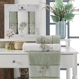 Подарочный набор полотенец для ванной 50х90(2), 70х140(1) Merzuka LOTUS хлопковая махра зеленый