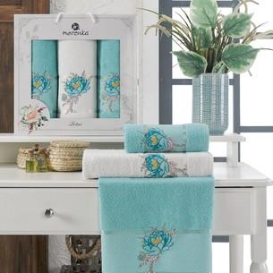 Подарочный набор полотенец для ванной 50х90(2), 70х140(1) Merzuka LOTUS хлопковая махра бирюзовый
