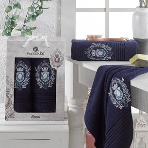 Подарочный набор полотенец для ванной 50х80, 70х130 Merzuka BOSS хлопковая махра синий