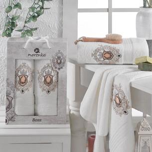 Подарочный набор полотенец для ванной 50х80, 70х130 Merzuka BOSS хлопковая махра кремовый