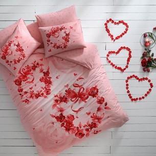 Подростковое постельное белье светящееся TAC ROSES хлопковый ранфорс пудра евро