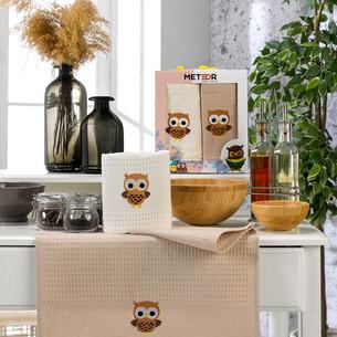 Подарочный набор полотенец для кухни 40х60(2) Meteor BIONCE хлопковая вафля сова