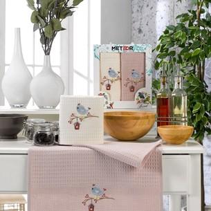 Подарочный набор полотенец для кухни 40х60(2) Meteor BIONCE хлопковая вафля птица