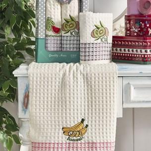 Подарочный набор полотенец для кухни 50х70(2) Meteor QUALITE хлопковая вафля фрукты