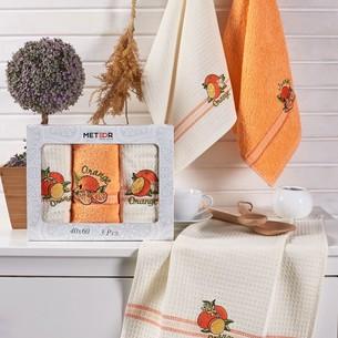 Подарочный набор полотенец для кухни 40х60(3) Meteor MIMOZA хлопок апельсин