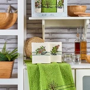 Подарочный набор полотенец для кухни 40х60(3) Meteor MIMOZA хлопок оливка