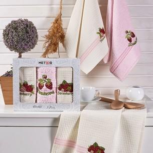 Подарочный набор полотенец для кухни 40х60(3) Meteor MIMOZA хлопок клубника