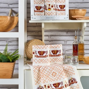 Подарочный набор полотенец для кухни 40х60(3) Meteor PIETRA хлопковая вафля кофе