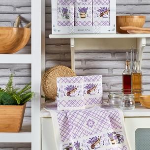 Подарочный набор полотенец для кухни 40х60(3) Meteor PIETRA хлопковая вафля лаванда