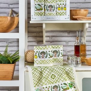 Подарочный набор полотенец для кухни 40х60(3) Meteor PIETRA хлопковая вафля оливка