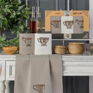 Подарочный набор полотенец для кухни 40х60(3) Meteor KANAVICE хлопковая вафля кофе