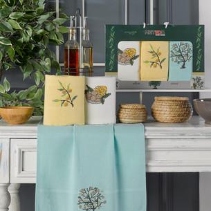 Подарочный набор полотенец для кухни 40х60(3) Meteor KANAVICE хлопковая вафля оливка