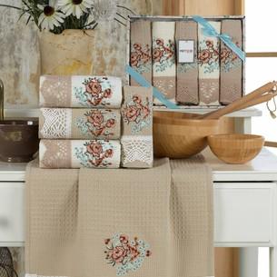 Подарочный набор полотенец для кухни 40х60(5) Meteor BERTICE хлопковая вафля бежевый