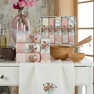 Подарочный набор полотенец для кухни 40х60(5) Meteor BERTICE хлопковая вафля персиковый