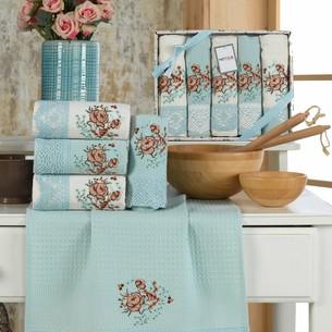 Подарочный набор полотенец для кухни 40х60(5) Meteor BERTICE хлопковая вафля зелёный