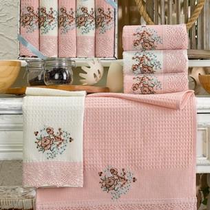 Подарочный набор полотенец для кухни 40х60(5) Meteor BERTICE хлопковая вафля розовый