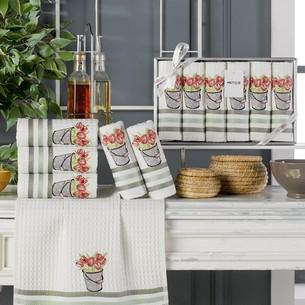 Подарочный набор полотенец для кухни 35х45(6) Meteor LUX SIMONA хлопковая вафля V5