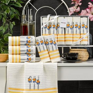 Подарочный набор полотенец для кухни 35х45(6) Meteor LUX SIMONA хлопковая вафля V2