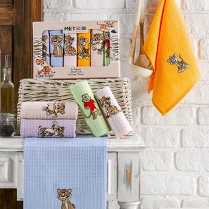 Подарочный набор полотенец для кухни 30х50(6) Meteor BIONCE хлопковая вафля ассорти