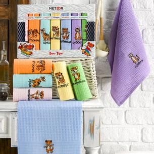 Подарочный набор полотенец для кухни 40х60(7) Meteor BIONCE хлопковая вафля ассорти