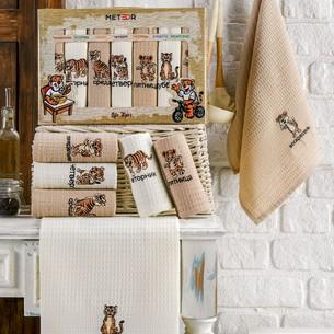 Подарочный набор полотенец для кухни 40х60(7) Meteor BIONCE хлопковая вафля коричневый