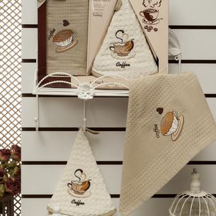 Подарочный набор полотенец для кухни 50х50, 50х70 Meteor MARISOL хлопковая вафля кофе