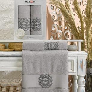 Подарочный набор полотенец для ванной 50х90, 70х140 Meteor DIVES хлопковая махра серый