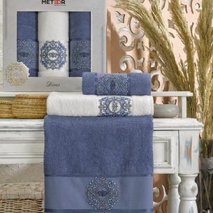 Подарочный набор полотенец для ванной 50х90(2), 70х140(1) Meteor DIVES хлопковая махра тёмно-голубой