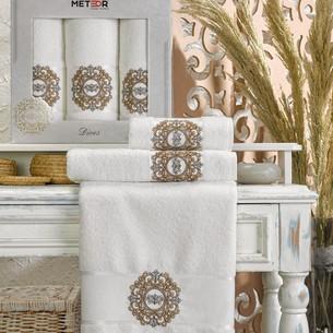 Подарочный набор полотенец для ванной 50х90(2), 70х140(1) Meteor DIVES хлопковая махра кремовый