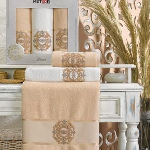 Подарочный набор полотенец для ванной 50х90(2), 70х140(1) Meteor DIVES хлопковая махра бежевый