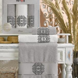 Подарочный набор полотенец для ванной 50х90(2), 70х140(1) Meteor DIVES хлопковая махра серый