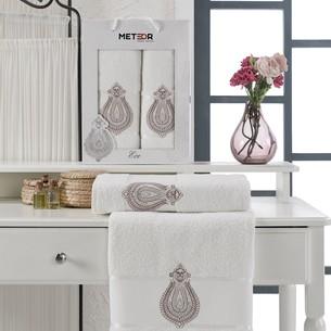 Подарочный набор полотенец для ванной 50х90, 70х140 Meteor ECE хлопковая махра кремовый