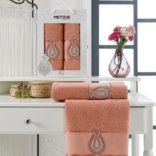 Подарочный набор полотенец для ванной 50х90, 70х140 Meteor ECE хлопковая махра персиковый