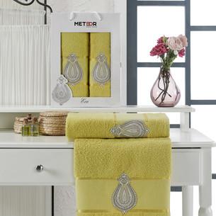 Подарочный набор полотенец для ванной 50х90, 70х140 Meteor ECE хлопковая махра светло-зелёный