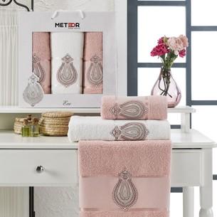Подарочный набор полотенец для ванной 50х90(2), 70х140(1) Meteor ECE хлопковая махра розовый