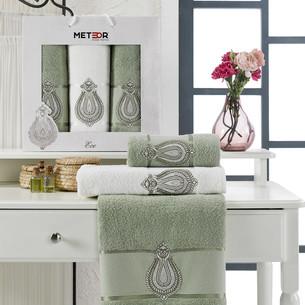 Подарочный набор полотенец для ванной 50х90(2), 70х140(1) Meteor ECE хлопковая махра зелёный