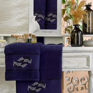 Подарочный набор полотенец для ванной 50х90, 70х140 Meteor GOLDEN LEAF хлопковая махра синий