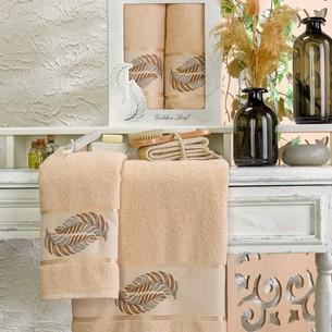 Подарочный набор полотенец для ванной 50х90, 70х140 Meteor GOLDEN LEAF хлопковая махра бежевый