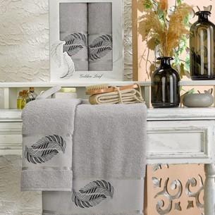 Подарочный набор полотенец для ванной 50х90, 70х140 Meteor GOLDEN LEAF хлопковая махра серый